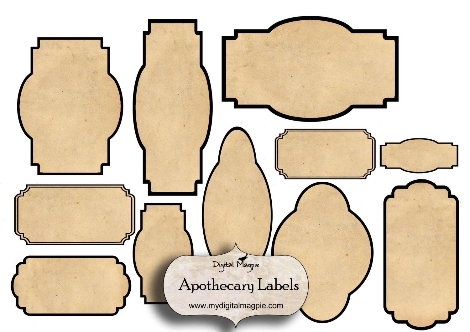 Digital Collage Sheet Blank Apothecary Labels Antique Shabby inside Blank Vintage Label Template 27761