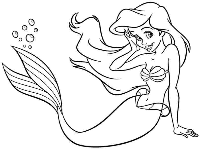 Disney Princess Coloring Pages Download : Disney princess ariel coloring pages for girls examples