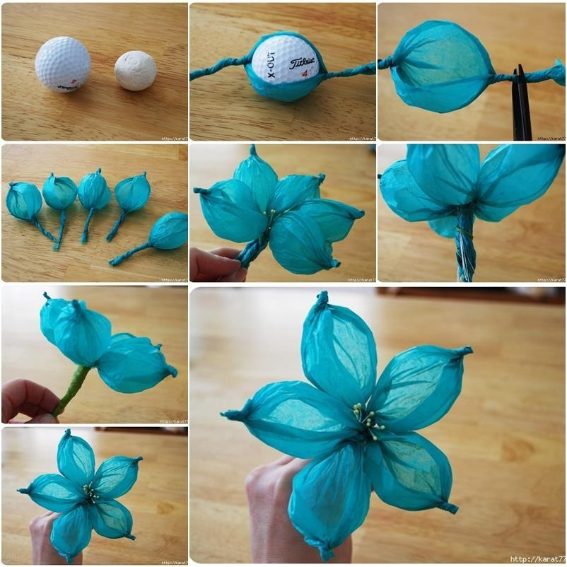 Diy Beautiful Tissue Paper Flower Using A Golf Ball for How To Make Paper Flowers With Tissue Paper Step By Step 29055