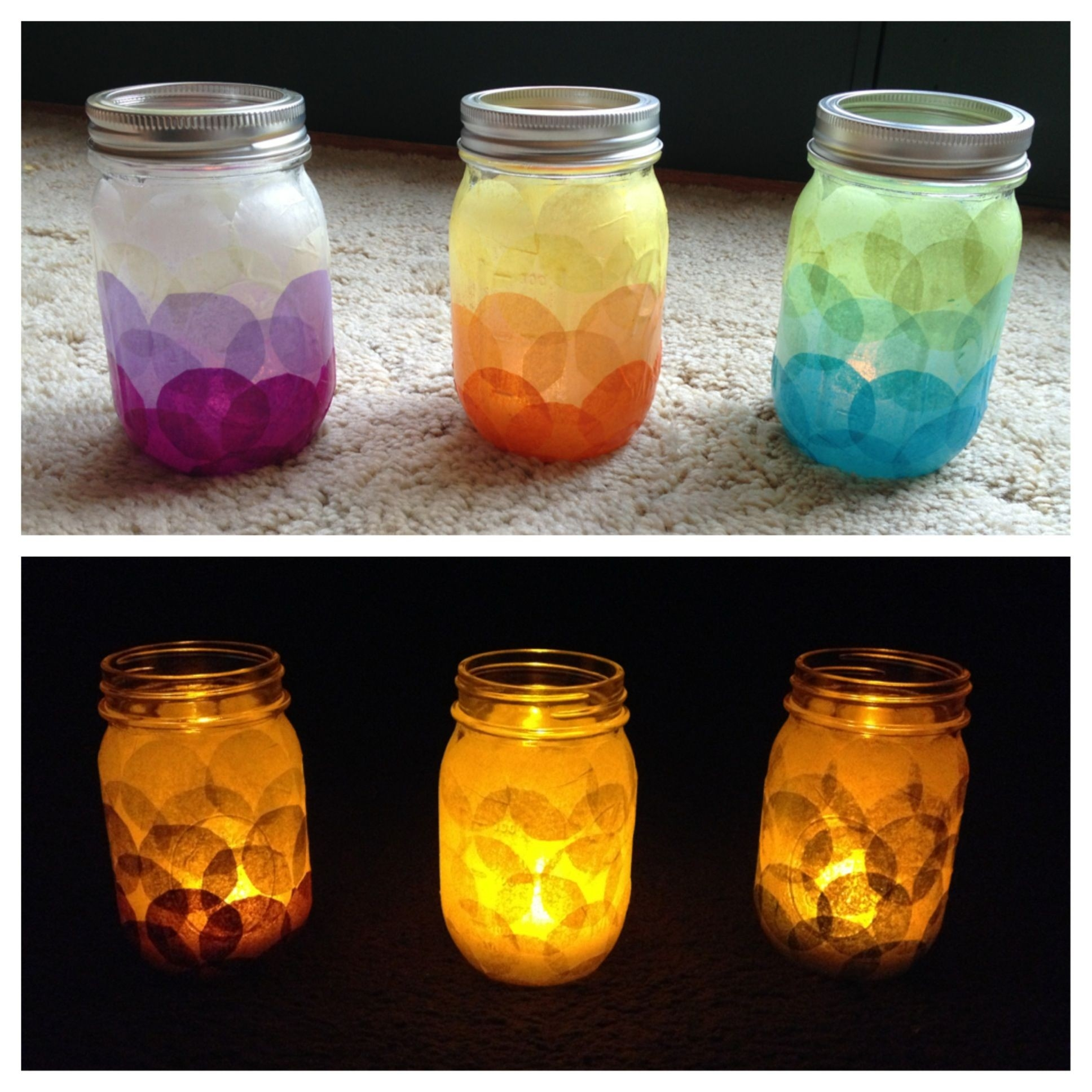 Diy Candle Holders! Tissue Paper Glued With Modge Podge Onto A intended for Tissue Paper Jar Crafts 29010