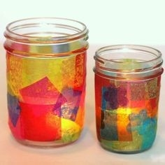 Diy Candle Holders! Tissue Paper Glued With Modge Podge Onto A with regard to Tissue Paper Jar Crafts 29010