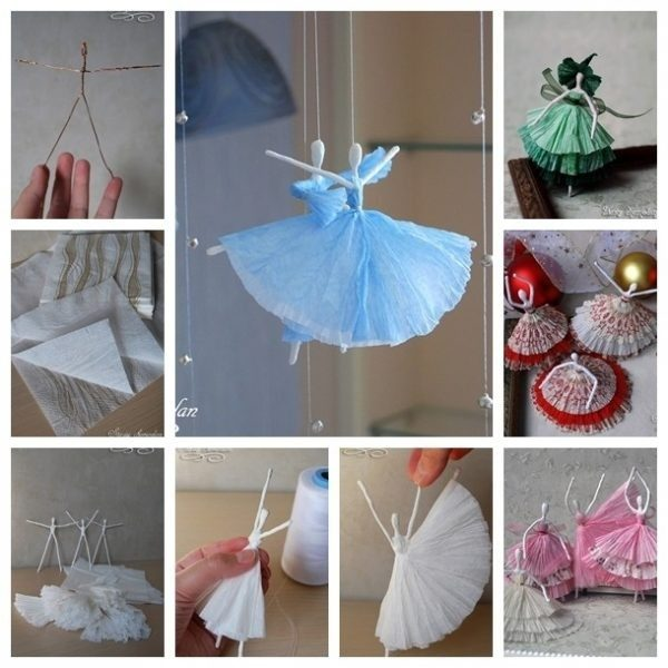 Diy Creative Paper Ballerinas With Napkin And Wire Step By Step In