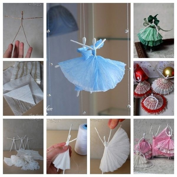 Diy Creative Paper Ballerinas With Napkin And Wire – Step By Step in Art And Craft Ideas For Home Decor Step By Step 27574