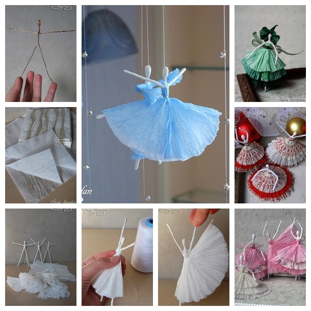 Diy Creative Paper Ballerinas With Napkin And Wire - Step By Step within Paper Craft Ideas For Decoration Step By Step 27460