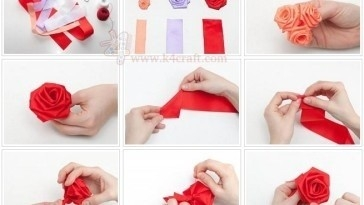 Diy: Make Simple Ribbon Flowers – Step By Step – K4 Craft within How To Make Handmade Flowers From Ribbon Step By Step