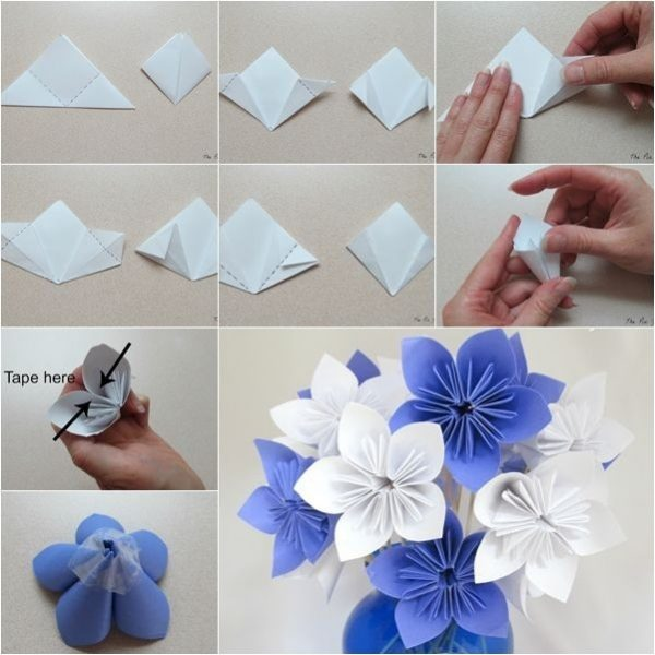 Diy Origami Paper Flower Bouquet - Howtoinstructions | Craft with How To Make Paper Roses Origami Step By Step