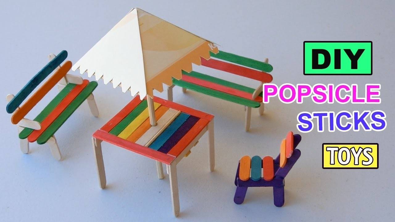 Diy Popsicle Sticks Table With Shade: Furniture Toys | Easy Crafts pertaining to Easy Crafts For Kids With Popsicle Sticks 27039