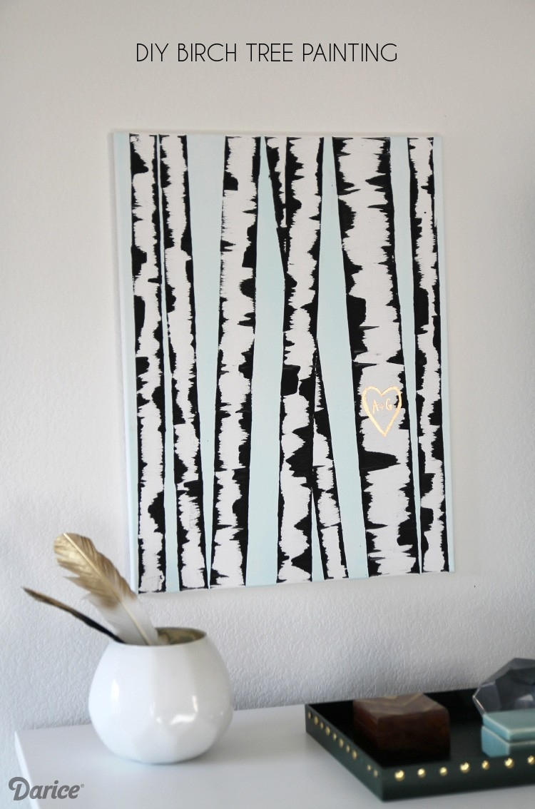 Diy Wall Art: Birch Tree Painting Tutorial - Darice in Simple Wall Art Painting 29763
