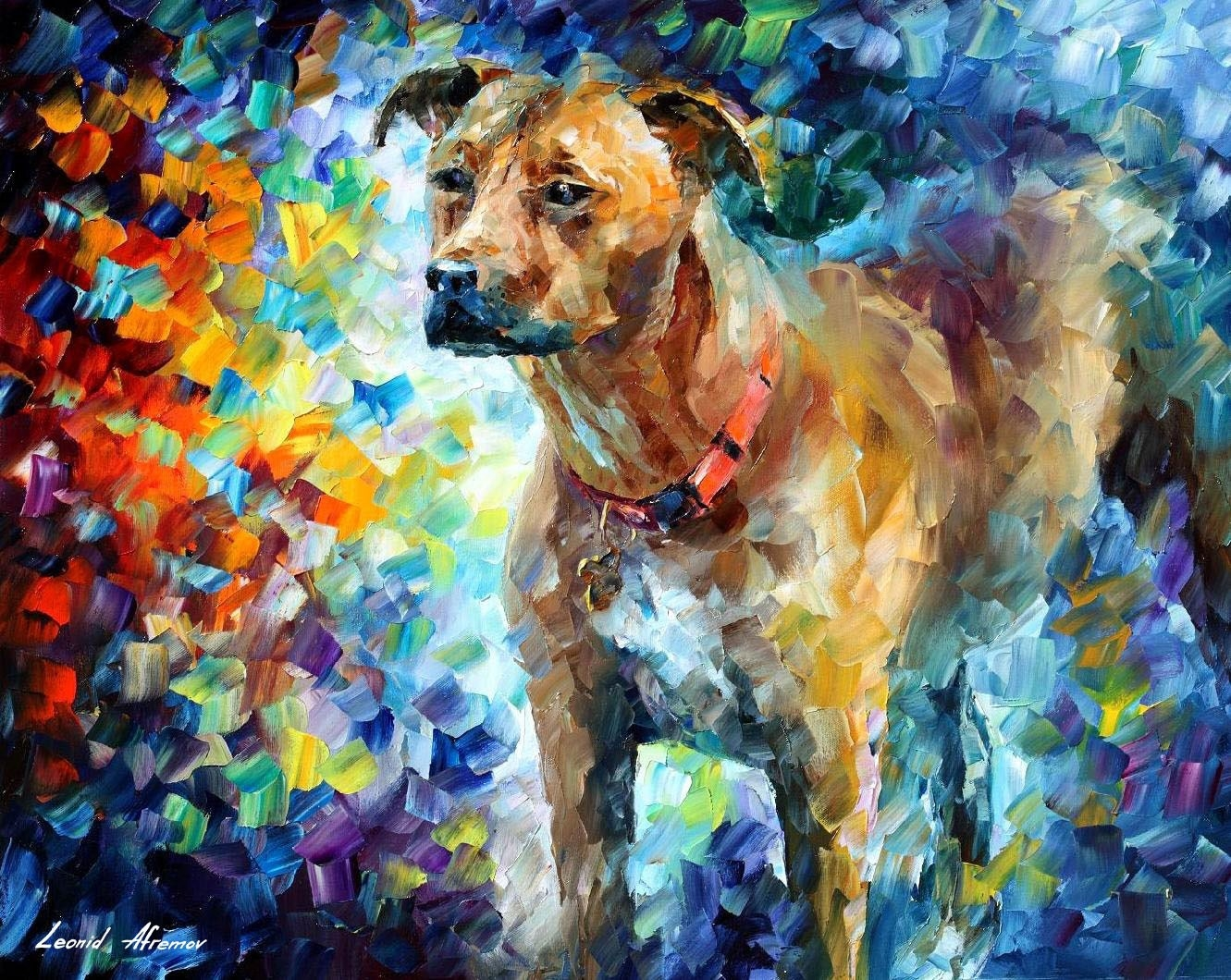 Dog 3 — Palette Knife Oil Painting On Canvas By Leonid Afremov regarding Wall Art Painting Techniques 29775