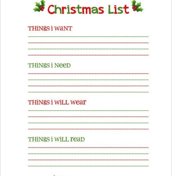 Download Blank Christmas List Free Printable 24 Wish With Regard To Template