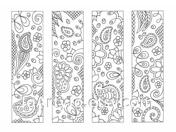 Downloadable Bookmarks To Color Paisley Printable Coloring for Cute Bookmarks To Print Black And White 27250