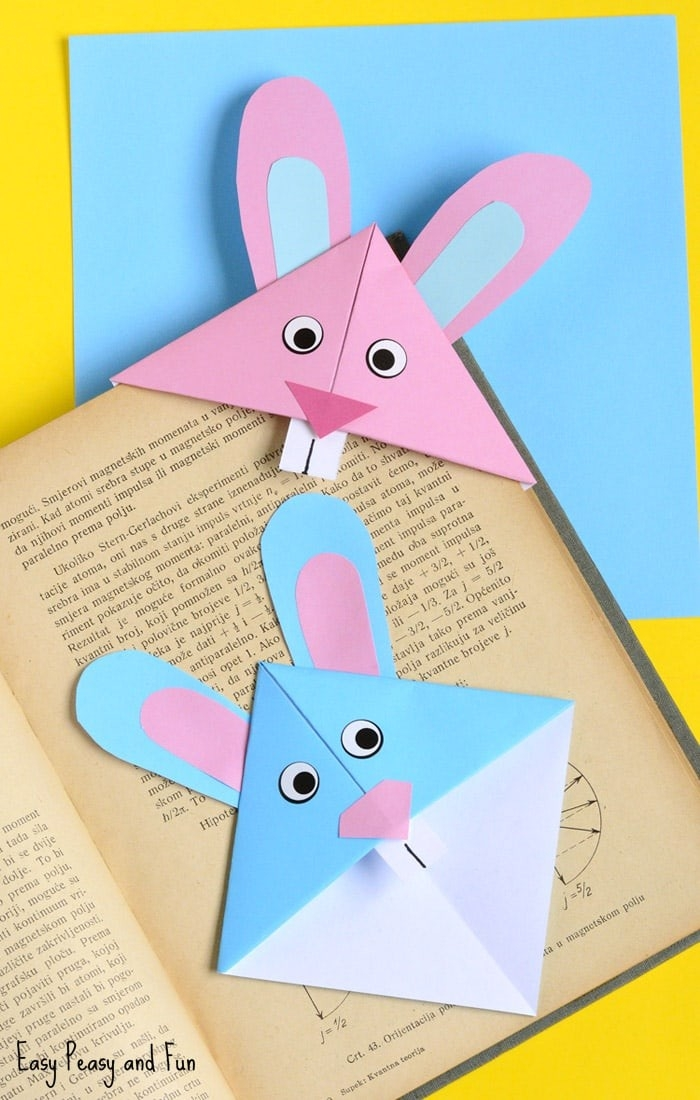 Easter Bunny Corner Bookmark - Diy Origami For Kids - Easy Peasy intended for How To Make Easy Bookmarks For Kids 29622