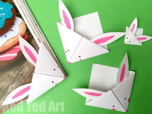 Easy Paper Bunny Bookmark - Red Ted Art's Blog within Easy Crafts For Kids With Paper Step By Step 27847