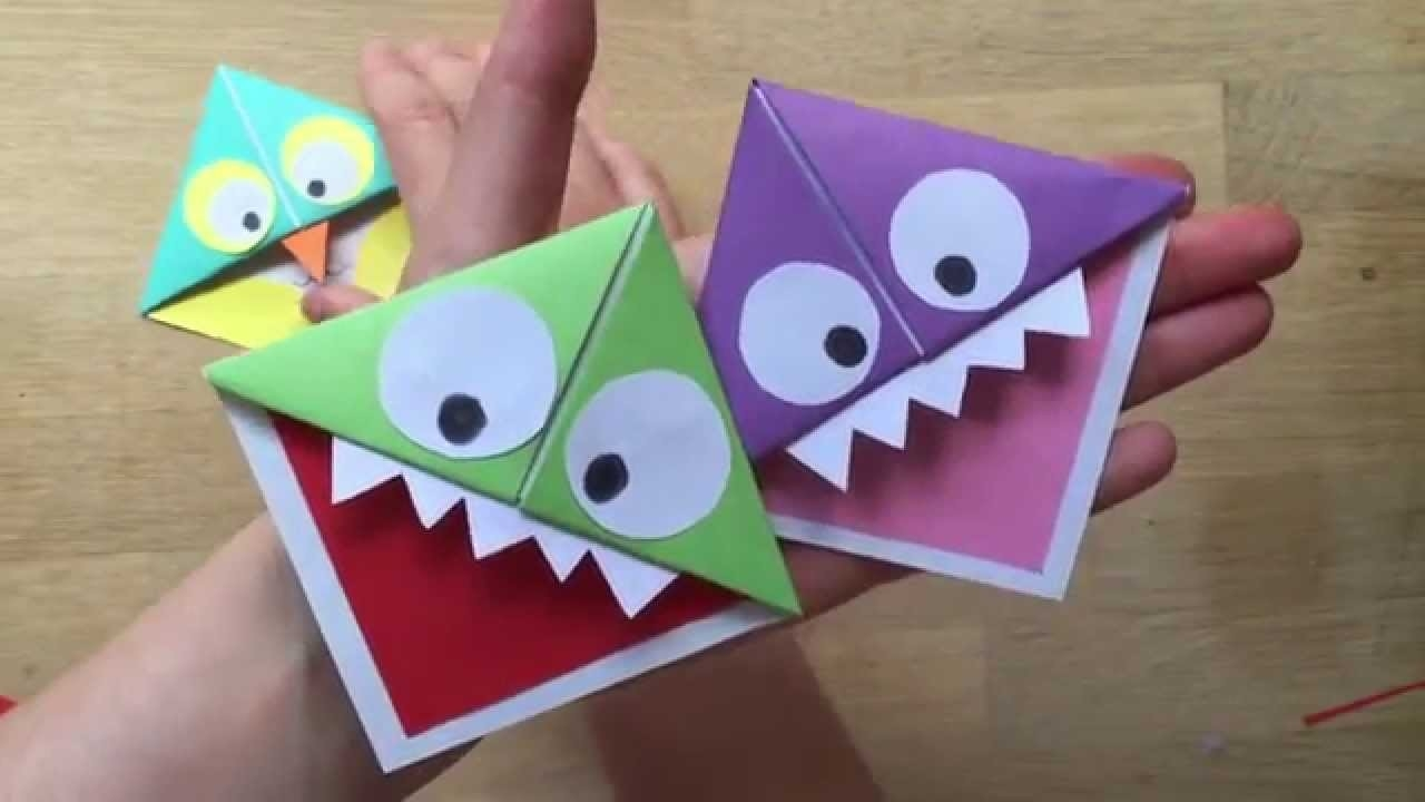 Easy Paper Monster & Owl Corner Bookmarks - Youtube in How To Make Bookmarks For Books 27953
