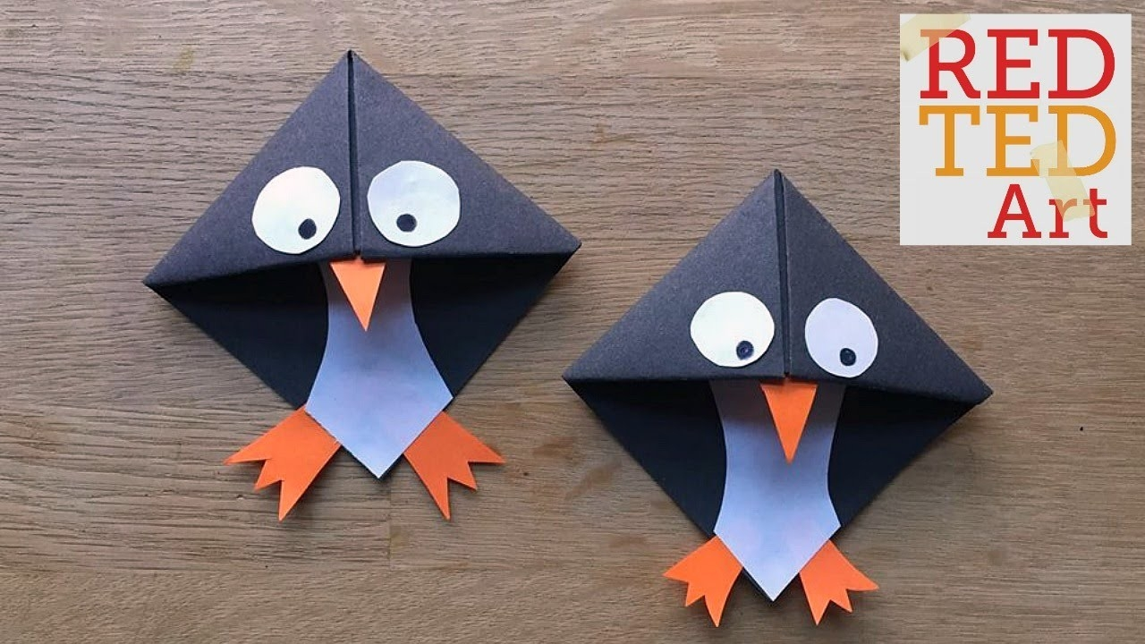 Easy Paper Penguin Corner Bookmark Crafts - Youtube within How To Make Corner Bookmarks With Paper 29542