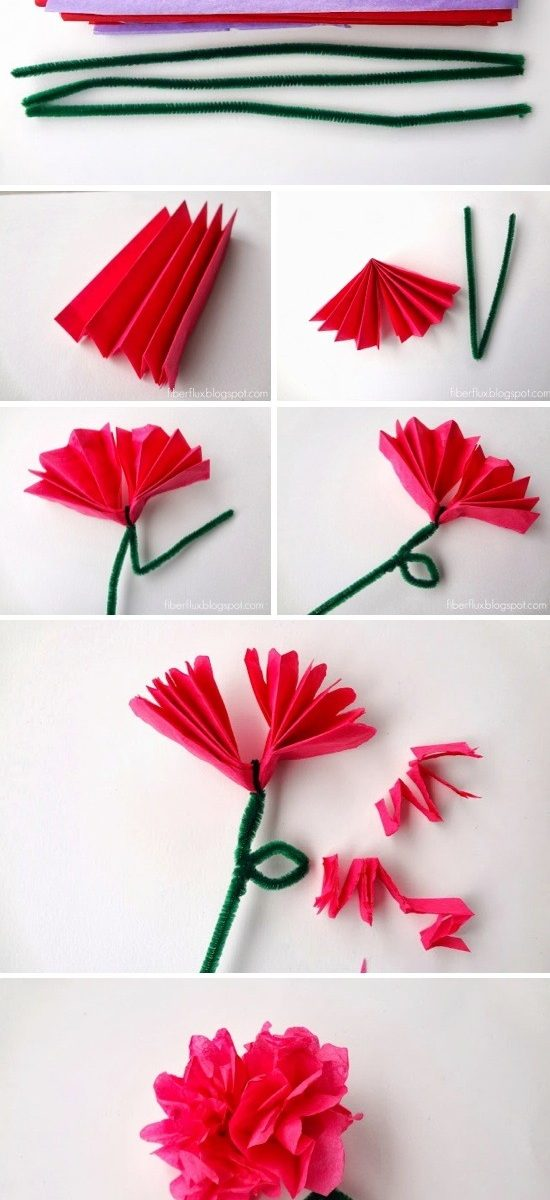Easy Tissue Paper Flowers for How To Make Tissue Paper Crafts