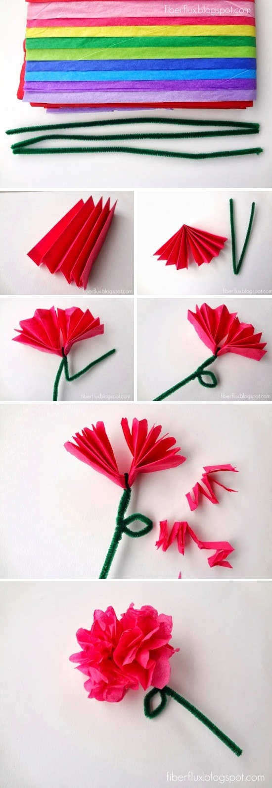Easy Tissue Paper Flowers for How To Make Tissue Paper Crafts 26814