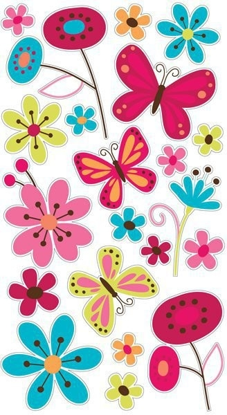 Ek Tools Butterfly Garden Glitter Scrapbooking Stickers - Sticko intended for Butterfly Stickers For Scrapbooking 26493