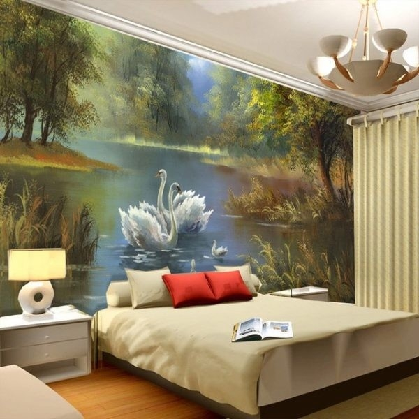 Elegant Swan Lake Wallpaper 3D Photo Wallpaper Custom Wall Murals pertaining to Wall Art Paintings For Bedroom 3D 30043