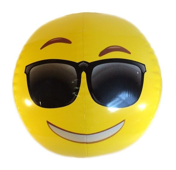 Emoji Beach Ball | Cool Sunglasses Face | Emoticon Inflatable in Cool Smiley Face With Shades 30564