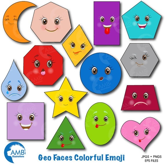 Emoji Clipart Faces Clipart Feelings Clipart Geometric inside Shapes Clip Art 24990