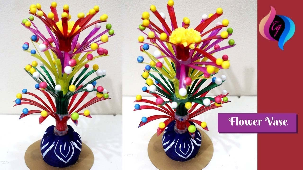 Empty Plastic Bottle Vase Making Craft - Handmade Flower Vase From intended for Handmade Things With Plastic Bottles Step By Step 29044