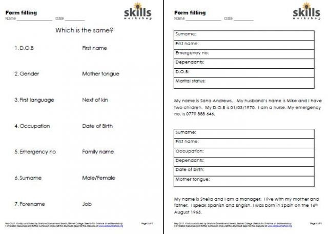 Esol Form Filling | Skills Workshop within Filling Out Forms Worksheets 25110