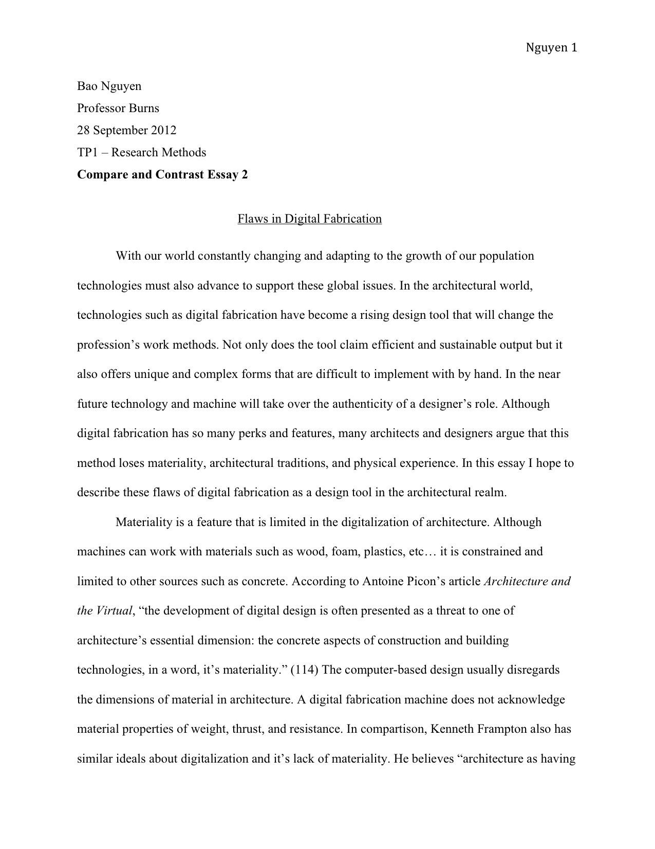 Example Essay High School Vs College Essay Compare And Contrast inside Thesis Statements Examples For Essays 28841