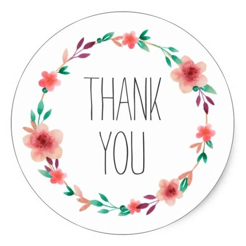 Floral Wedding Thank You Flower Wreath Favor Classic Round Sticker with regard to Flower Stickers For Cards 26725