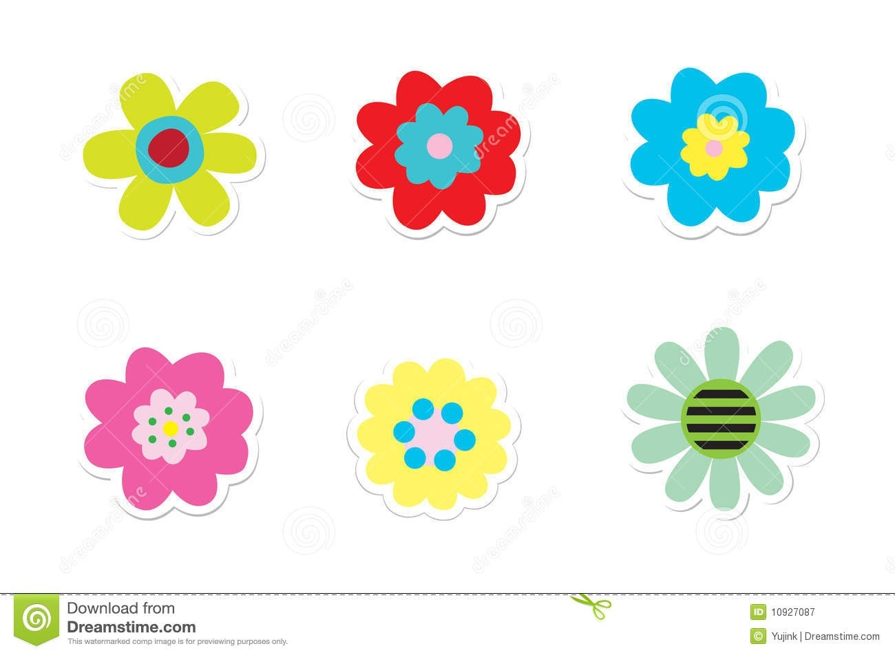 Flower Stickers Stock Vector. Illustration Of Color, Botany - 10927087 within Flower Stickers For Cards 26725