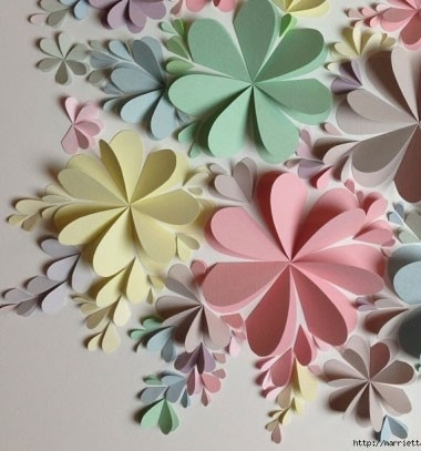 Flower Wall Art From Heart Shapes And Construction Paper - Mindy intended for Construction Paper Wall Art 27430