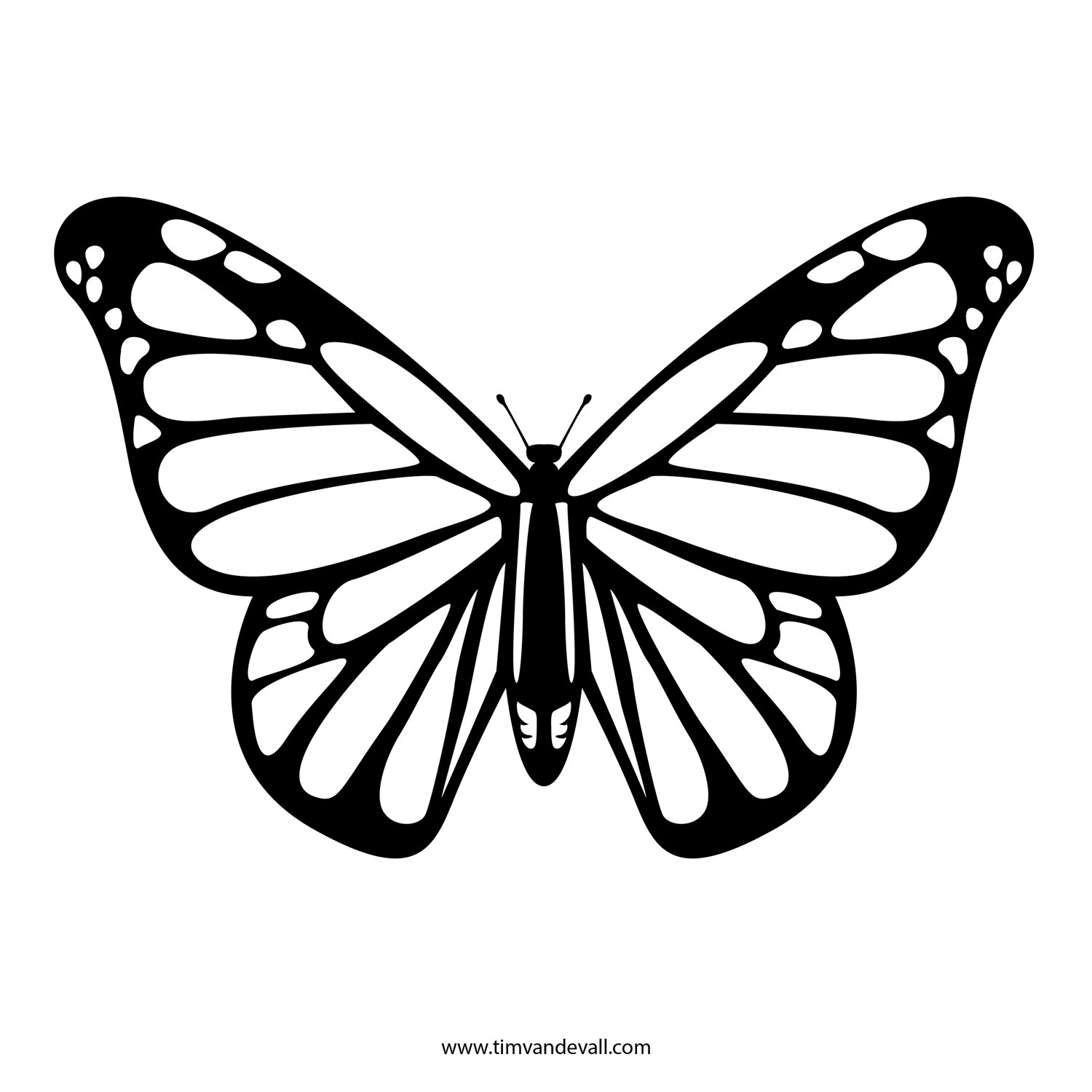 Free Butterfly Stencil | Monarch Butterfly Outline And Silhouette intended for Monarch Butterfly Template 29350