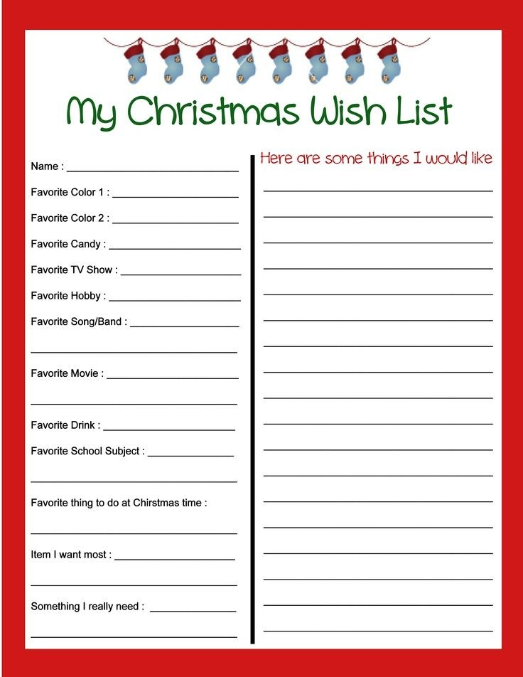 Free Christmas Wish List Printable! In Addition To Things That The intended for Printable Christmas Gift List Template 26212