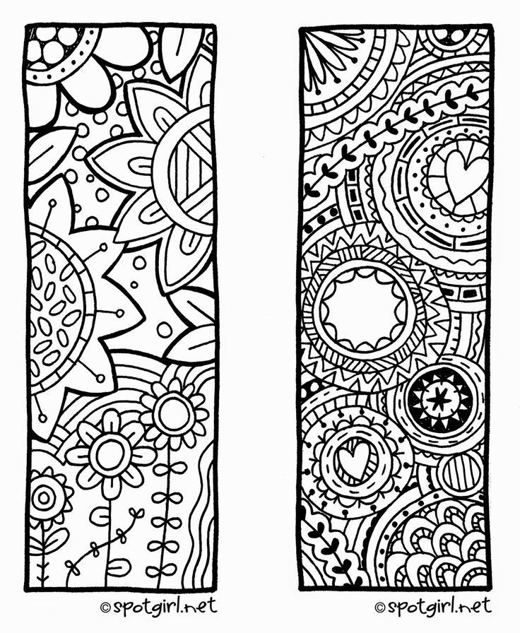 Free Coloring Bookmarks For Adults. Free. Download Coloring Page intended for Bookmark Designs To Print Black And White 25873