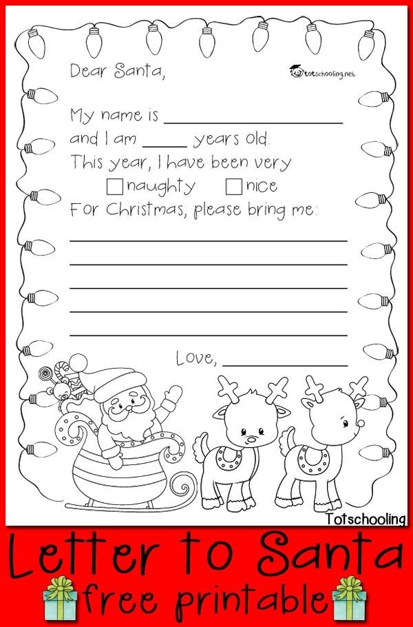 Free Letter To Santa Printable | Kids Writing, Free Printable And  Throughout Dear Santa Christmas