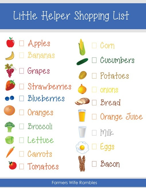 Free Pretend Play Kids Shopping List Printable - Farmer's Wife Rambles throughout Grocery List For Kids 25543