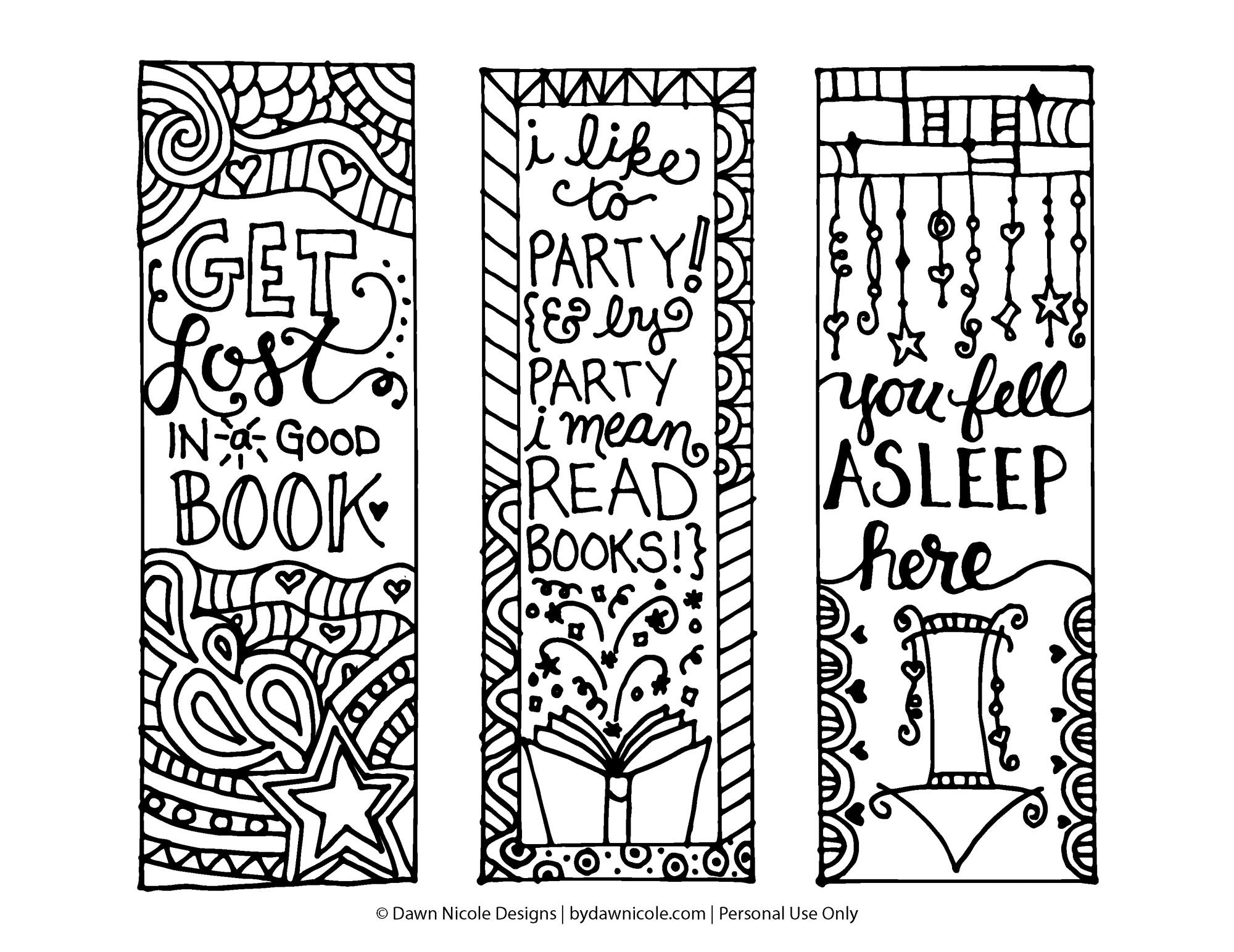 Free Printable Coloring Page Bookmarks | Dawn Nicole Designs® throughout Bookmark Designs To Print Black And White Quotes 26454