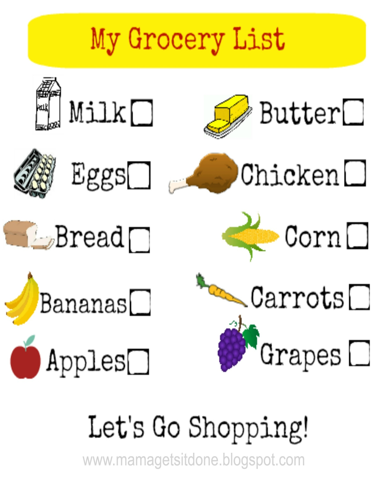 Free Printable Kids Grocery Shopping List | Arts & Crafts within Grocery List For Kids 25543