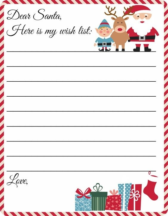 Free Printable Letter To Santa Template ~ Cute Christmas Wish List with Dear Santa Christmas Wish List Template 26222