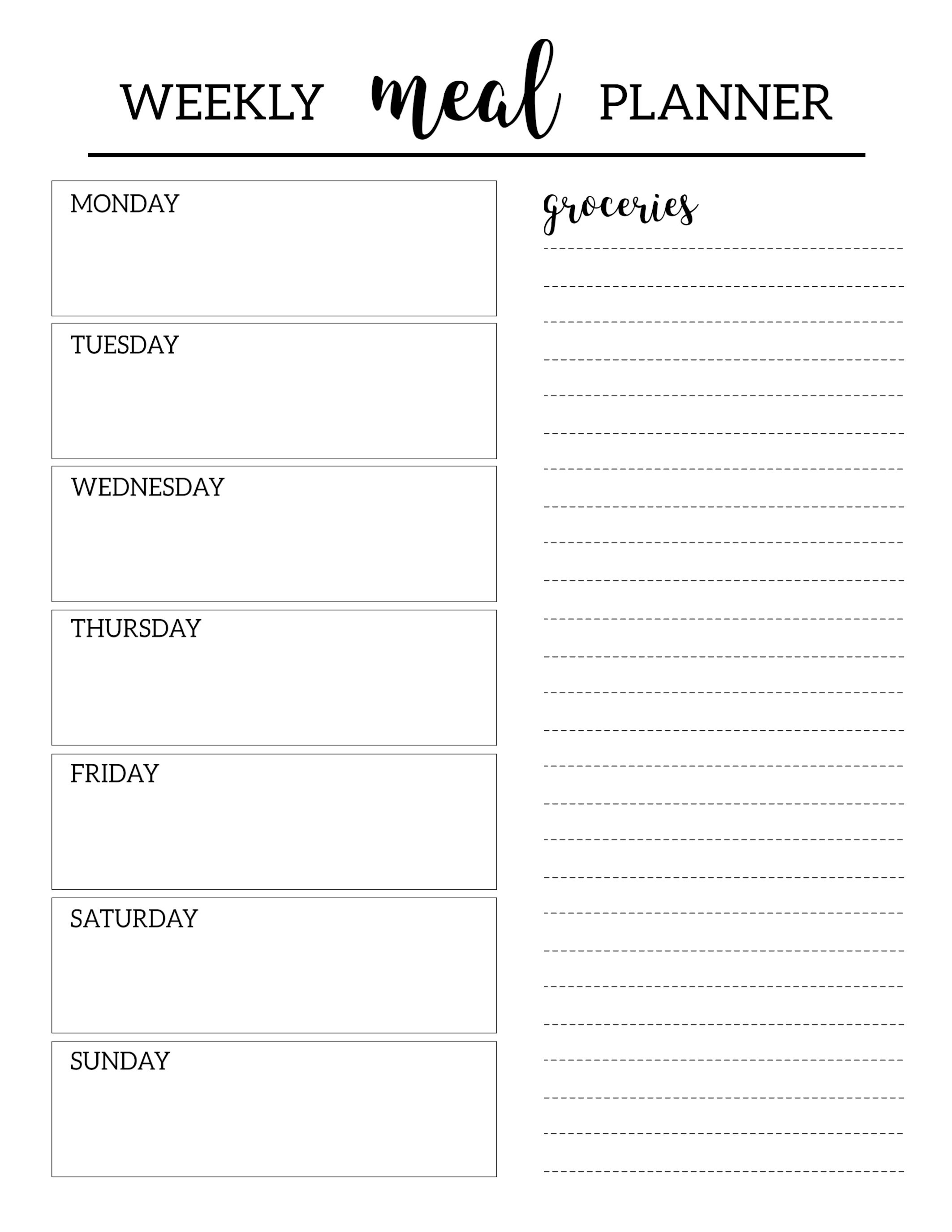 Free Printable Meal Planner Template - Paper Trail Design with regard to Meal Planner Template With Grocery List 26069