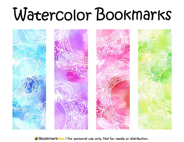 Free Printable Watercolor Bookmarks. Download The Pdf Template At within Bookmark Designs Download 27922