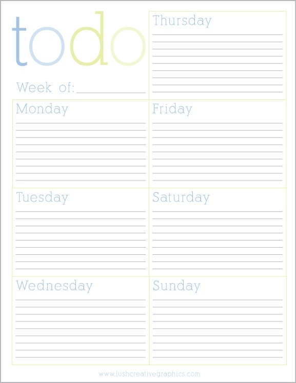 Free Printable Weekly To Do List From Lush Creative | Printables intended for Free Printable To Do List Planner 25503