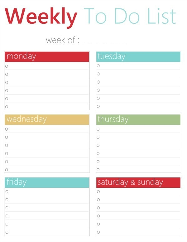 Free Printable Weekly To Do List regarding Free Printable Weekly To Do List 25453