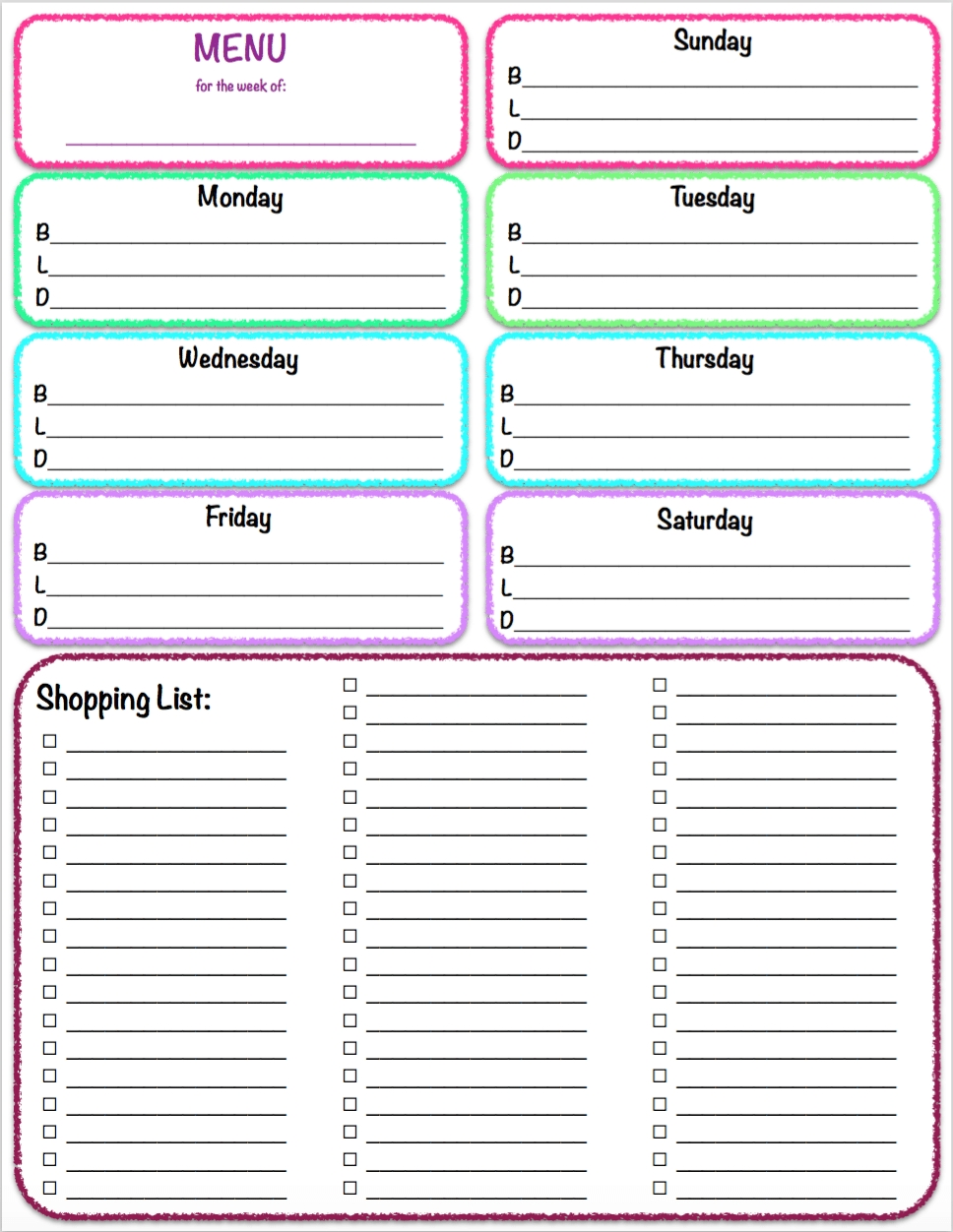 Free Printables: Weekly Meal Planner & Grocery List ~ The inside Weekly Meal Planner With Grocery List 26302
