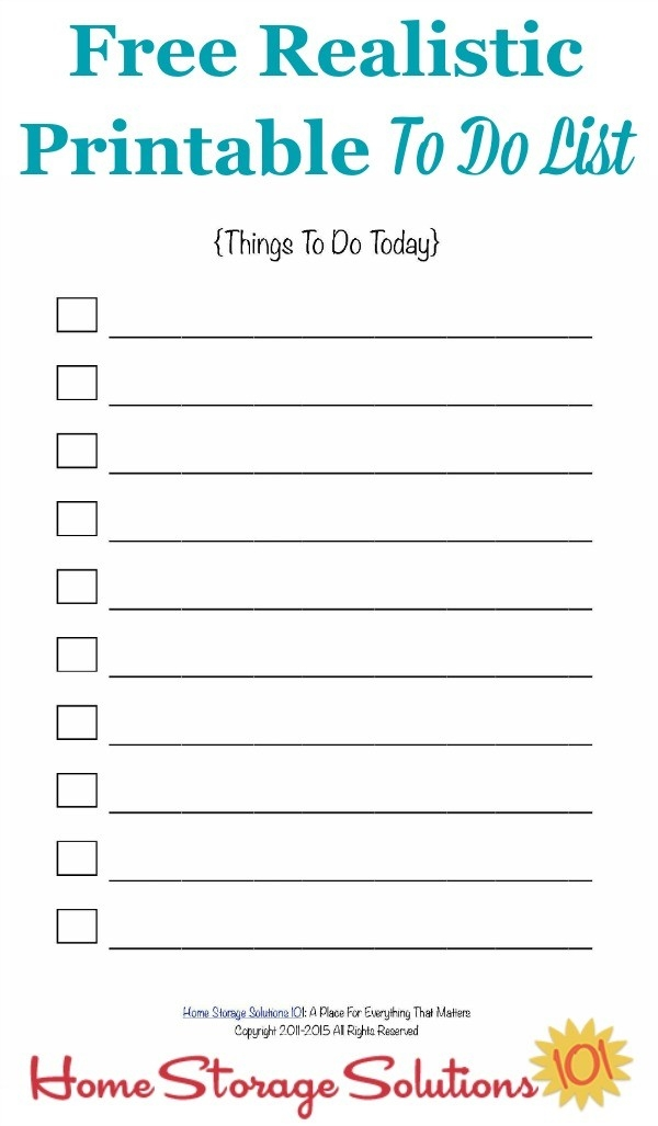 Free Realistic Printable To Do List regarding Free Printable To Do List For Home 25483