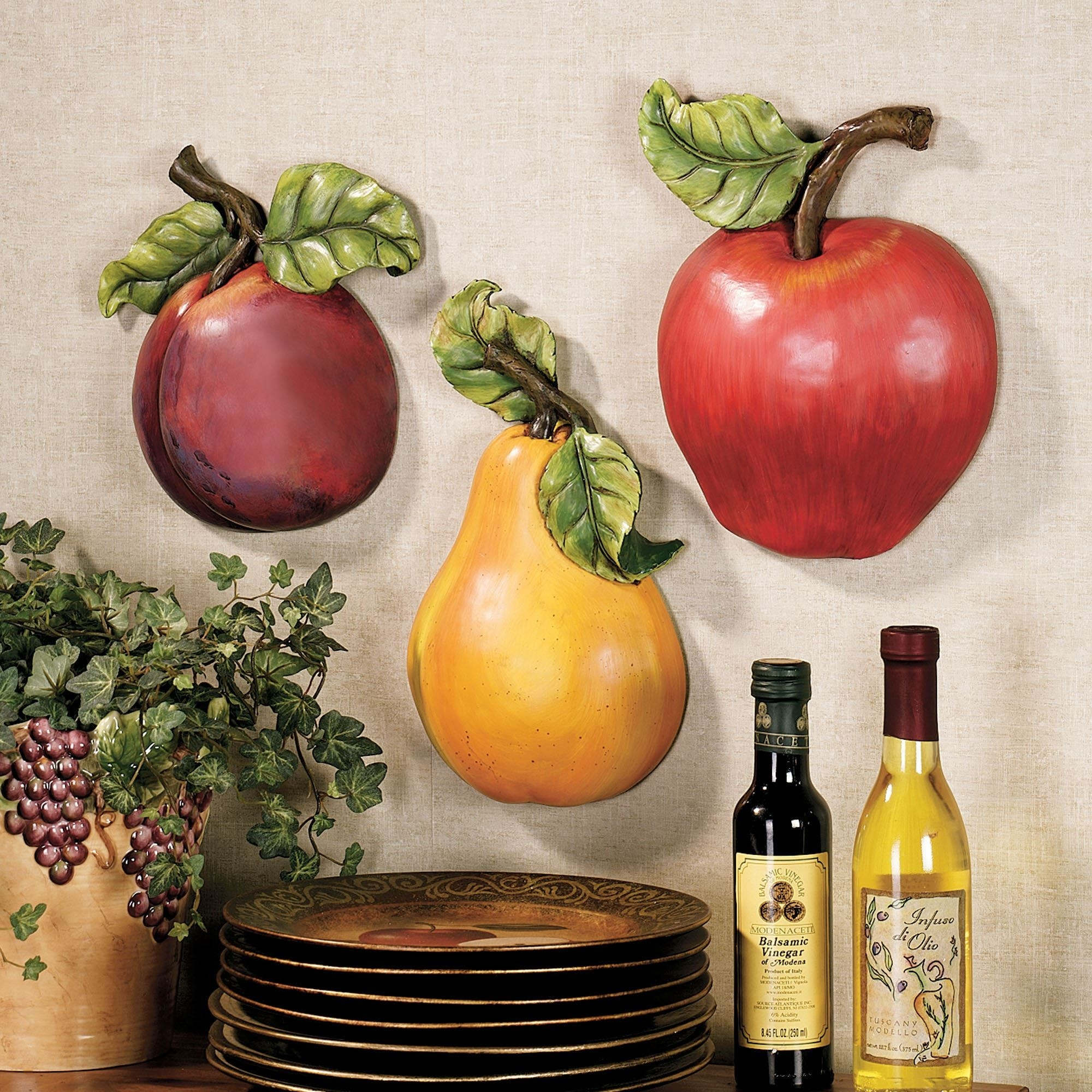 Fruit Wall Accent Set regarding Fruits Kitchen Wall Art 27099