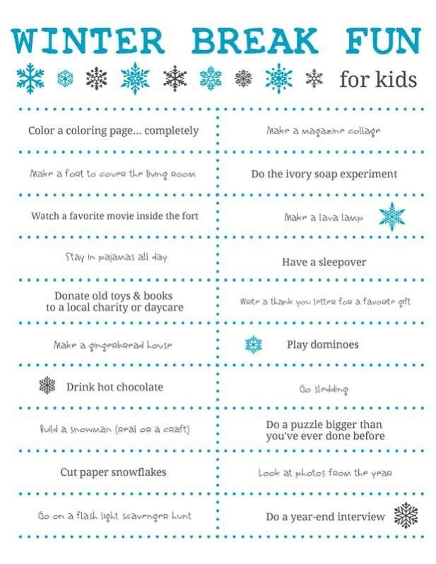 Fun Things To Do Over Winter Break For Kids + Free Printable with Fun Things To Do List 26252