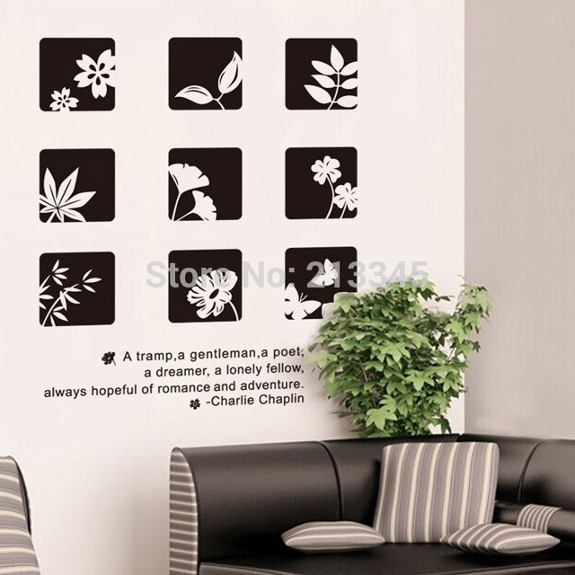 Fundecor] Black White Chinese Style Floral Wall Stickers Home pertaining to Black And White Wall Art Diy 27281