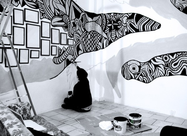 Gallery For > Painted Wall Murals Black And White | Art Mural pertaining to Street Wall Art Black And White 28127
