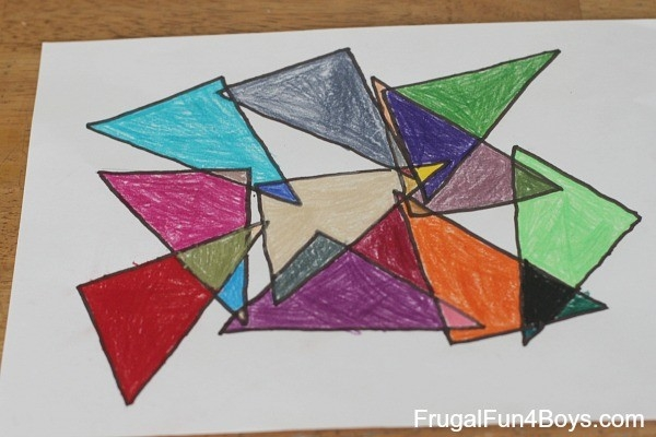 Geometric Art Project For Kids (With Printable Coloring Pages!) with Geometric Shape Art Projects 24838